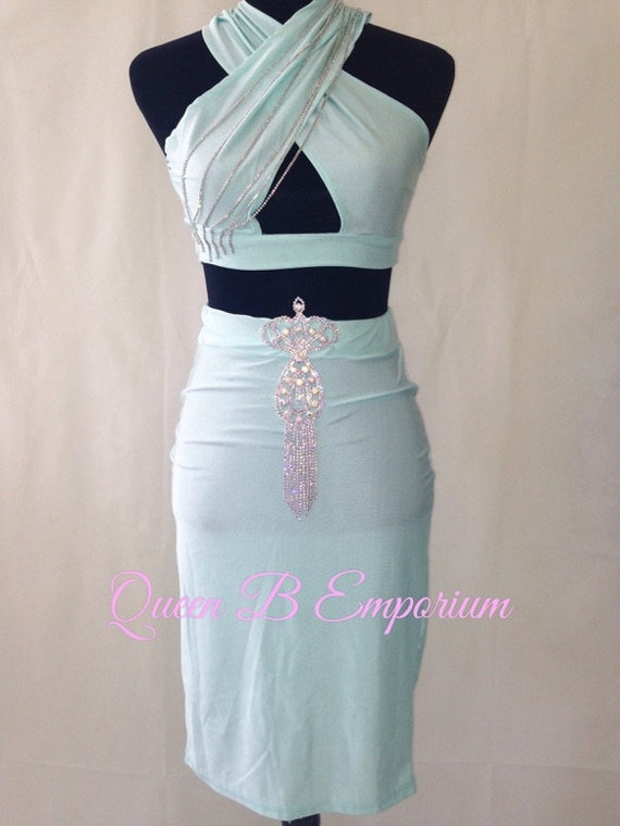 Two Piece Crystal AB Rhinestone Classy Ocean Green Dress Clubwear Outfit 2 Piece set XS S Queen B Emporium Diamond Quality Dress
