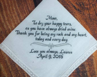 Mother Of Bride Gift - Embroidered Handkerchief For Mom - Hankerchief For Mother of Bride - Personalized Gift for Mother of the Bride