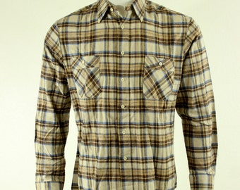 70s 80s Plaid Button Up Shirt XL Deadstock NWT Saturdays