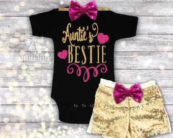 Auntie's Bestie Outfit, Aunt Baby Shower Gift, Baby Girl Bodysuit, Baby Shower Gift, Gift for Niece, Gift from Aunt, Sizes Newborn-6T