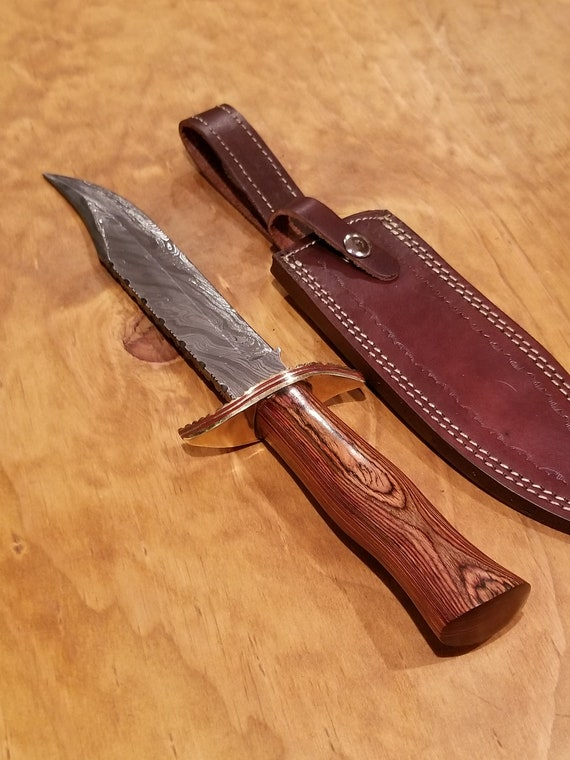 Wood Handle Hunting Knife Damascus Blade Collection With Leather Sheath Outdoors Bowie (K110)