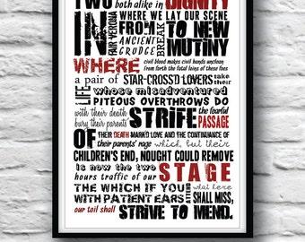 ROMEO and JULIET, Shakespeare quote, Minimalist poster, Shakespeare art, Wall decor, Typography art