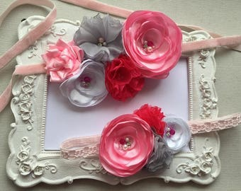 Belt with flower and headband SET has pink flower, grey and fuchsia