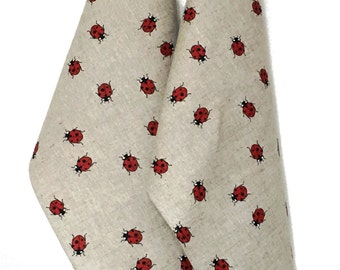 "2 tea towels / diner towels / kitchen towels linen luck beetle ""Ladybird"" (20"" x 27,6""), Mother's Day / Father's Day /Gift"