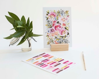 Prints with Wood Stand in Fuchsia (set of 2)