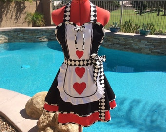 Queen of Hearts Inspired Sassy Apron with Petticoat and White Overlay with Hearts, Alice in Wonderland Cosplay  Cotume, Womens Plus Sizes