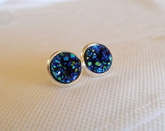 Blue Druzy Stud Earrrings, Faux Druzy Studs, Blue Druzy Studs, Midnight Blue Studs, Sparkle Blue Studs, Druzy Jewelry, Druzy Earrings