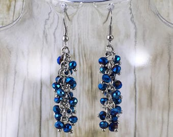 Beaded Chain Earrings | Blue Earrings | Blue Beaded Earrings | Blue Bead Earrings | Jewelry Gift for Her Under 25 Dollars | Gift for Mom