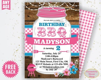 BBQ Invitation / Bbq Birthday invitation / Backyard / barbecue / barbeque / Printable / Invite / Boy girl woodland pink plaid teal BDBBQ11