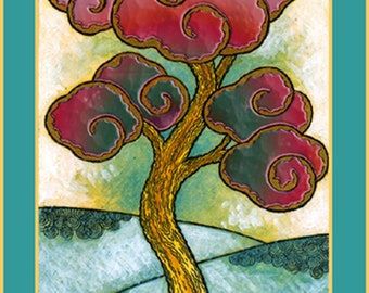 Fine Art 5 x 7 Greeting Card, Harmony, Hand Made Archival Reproduction of an original etching with watercolor.