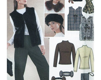 Simplicity 9885 Sewing Pattern Misses Lined Vest, Accessories & Knit Top  Size AA XS-M