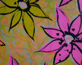 Vintage 1970s All Occasion Wrapping Paper MOD Hot Pink and Orange Floral Print-1 Sheet Paper Gift Wrap