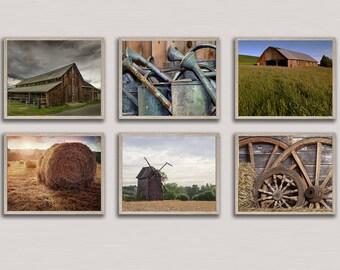 Country Farmhouse Gallery Wall Print Set, Farmhouse Decor, Printable Digital Download, Set of 6 Prints, Farm Images