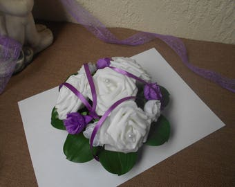 White and purple table centerpiece - pink white and purple artificial