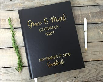 Wedding Guest Book sign in book photo booth hardcover real gold foil Personalized book Rustic Modern Custom guestbook