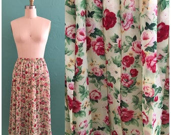 vintage 70's floral spring skirt // rose pleated skirt