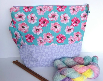 LARGE Project Bag for Knitting, Yarn Pouch, Gift For Knitter, Crochet Project Bag, floral and lilac print, fits 6-7 skeins