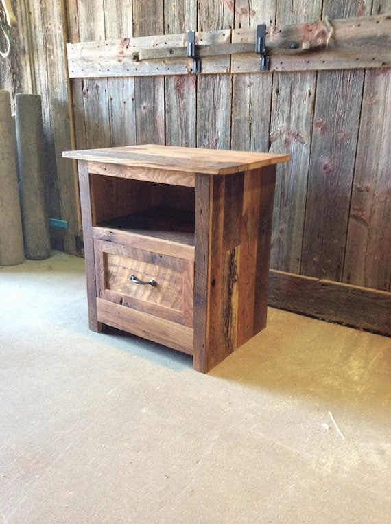 Reclaimed Barn Wood Nightstand / Rustic Bedside Table / Accent