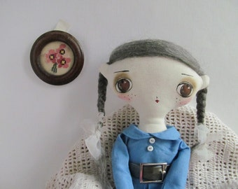 Fabric clothing stuffing toy - Cute white haired girl - Art doll.