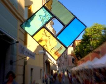 Geometrical Minimal Stained Glass Suncatcher