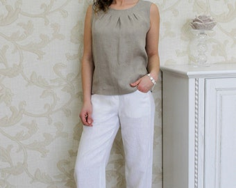 White Comfortable Linen Pants