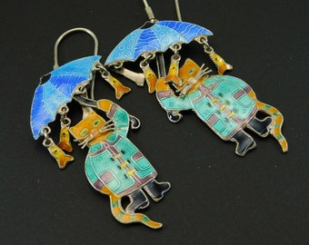 Enamel Cat Earrings Umbrella Fish Vintage Jewelry