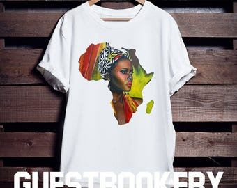 African Woman T-shirt - African Clothing - African - Graphic Tees - Nubian - Black Lives Matter - Colorful T-shirt - Africa - Afrocentric