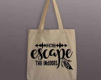 Escape the Indoors Tote Bag - Cotton Tote - Wanderlust Tote - Feather - Boho