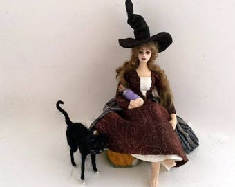 Hold for Customer. Witch cloth art doll Halloween decoration posable wire armature needle felted black cat