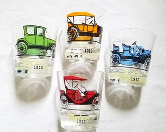 Hazel Atlas Car Lowball Glasses Vintage 1950s Mid Century Barware Set of Four Colorful Antique Classic Car Glasses Ford Chevy Gasoline Promo