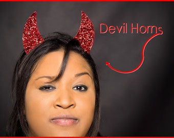 Devil Horns Red Devil Horns Headband SINGLE Set of Red Glitter Devil Horns