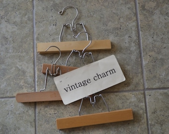 Vintage Wooden Pant or Skirt Clothes Hangers Set of 4