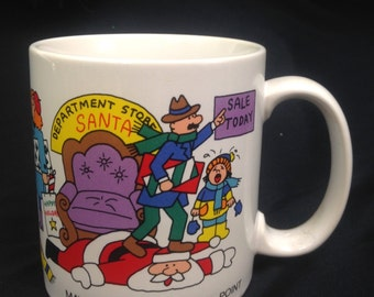 vintage rare Christmas Scrooge shopaholic mug coffee cup holiday office gift kitschy stocking stuffer yesteryears Russ Berrie classic