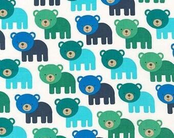 Bear Fabric - Woodland Pals 2 by Ann Kelle - Robert Kaufman. Blue and Green Bears. 100% cotton. AAK-15955-267