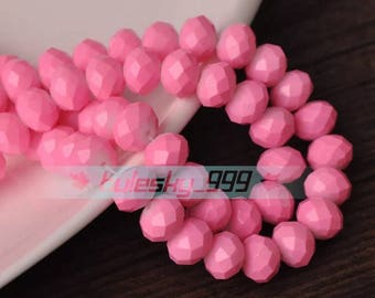 8 mm Crystal  Rondelle bead  36 pcs Pink