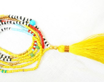 Tassel Necklace, Long tassel necklace, Boho Beaded Tassel Necklace, Yellow turquoise gold Hippie Necklace,Tribal Necklace