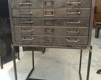 Vintage industrial stripped steel flat file cabinet .