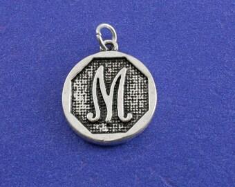 1 pcs-Initial M Charm, M Alphabet Pendant, Antiqued Silver Letter M Coin-As-K85350H-8S