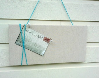 Linen Pinboard, Modern and classic Oatmeal Linen Bulletin Board with turquoise twine accent for your Photos and notes, pin or tack board