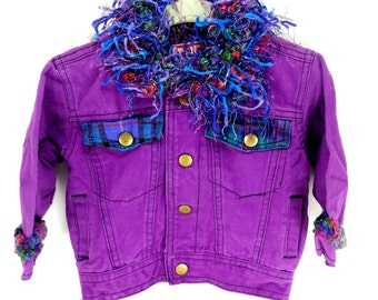 Baby GIrl's Purple embellished Jean Jacket.  Upcycled with Fun Style Size 12 Months