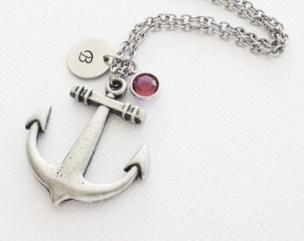 Large Anchor Pewter Necklace Big Anchor Sailor Gift Nautical Jewelry Swarovski Birthstone Silver Initial Personalized Monogram Hand Stamped