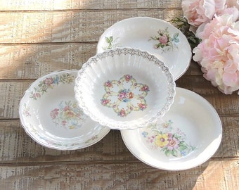 Mismatched Coupe Soup Bowls Set of 4 Tea Party Serving Bowls Wedding 1940s Farmhouse Cottage Style China Replacement China