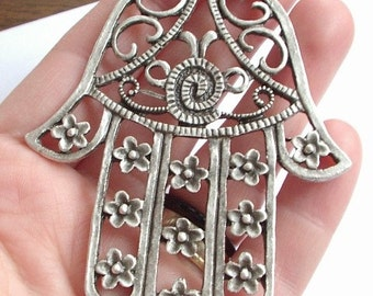 1pc Matte Silver plated Hand of hamsa pendant-80x60mm (413-008SP)