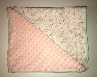 New! cover /plaid apricot pink and Mint.