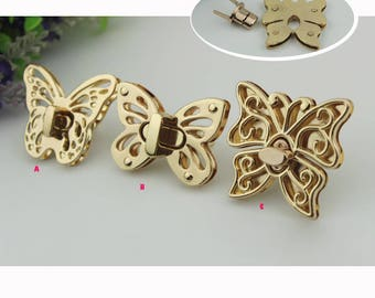 10sets gold bag and purse butterfly  twist turn lock wholesale    ks-405