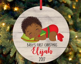 Baby's First Christmas Ornament, Personalized Christmas Ornament, Custom Ornament, African American Christmas Ornament, 2017 Ornament (0037)