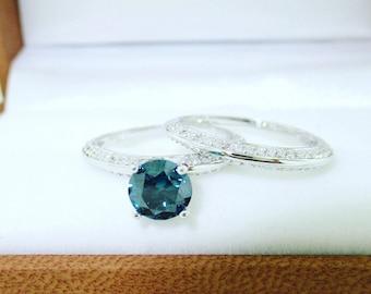 1.55 Carat Blue Diamond Engagement Ring Set, Blue Diamond Wedding Rings Sets, Knife Edge Rings, 14K White Gold Micro Pave Unique Handmade