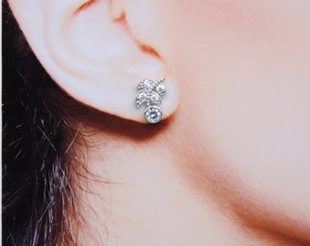 Bridal Earrings  Cubic Zirconia Tiny Stud Earrings Laurel Leaf Earrings Best Gift For Her