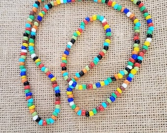 Rainbow Seed Bead Necklace, Multicolor Necklace, Glass Seed Bead Necklace, Single Strand Necklace, Long Beaded Necklace, Seed Bead Necklace
