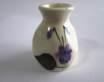 Vintage Devon Violets Perfume Bottle, Made in England, Toilet Water, Mini Vase, Hand Painted Violets, White Pottery Decor, Toothpick Holder